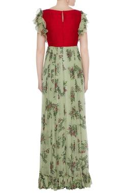 Red raw silk zardozi hand embroidered & chiffon gown