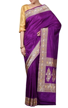 Purple  mulberry silk brocade sari with blouse piece