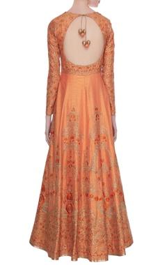 Peach raw silk zari, sequin & thread work floor length anarkali with dupatta