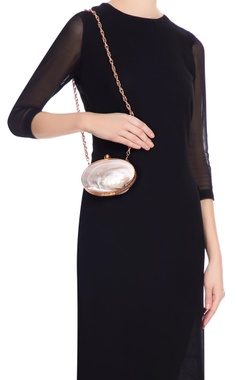Rose gold mother of pearl clutch with long chain
