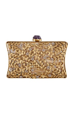 Be Chic Gold plated floral motif evening clutch