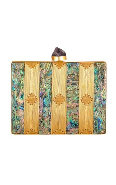 Be Chic Gold detail mother of pearl rectangle box clutch