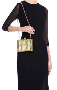 Gold detail mother of pearl rectangle box clutch
