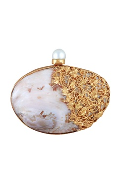 Be Chic Multicolored mother of pearl oval clutch with detachable chain