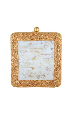 Be Chic White mother of pearl & gold mesh square clutch