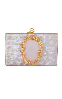 Be Chic Pink & gold plated rectangle box clutch