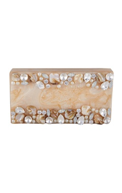 Be Chic Natural-beige jewel embellished box clutch