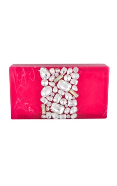 Be Chic Hot pink rectangle box clutch