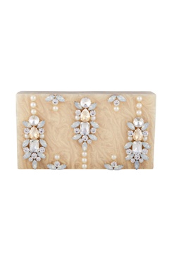 Be Chic Light beige rectangle box clutch with detachable chain