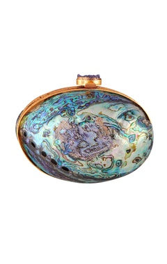 Be Chic Blue & purple iridescent oval clutch