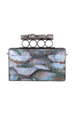 Be Chic Multicolored mother of pearl rectangle clutch with detachable chain