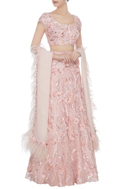 Blush pink rosette hand-embroidered lehenga with blouse & feather dupatta