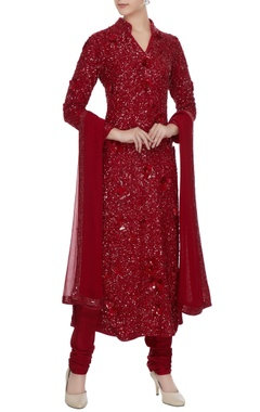 Red sequin kurta with churidar and dupatta
