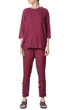 Wine viscose slub machine striped embroidered raglan blouse