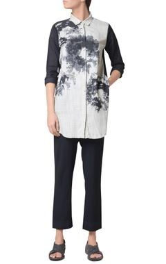 Metal grey cotton screen print shirt