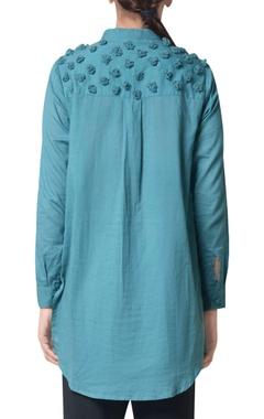 Hydro green pom-pom machine embroidered shirt