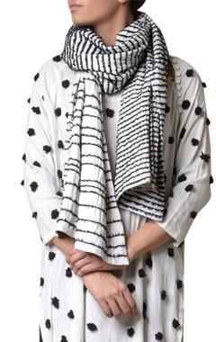 Off white viscose slub machine embroidered scarf