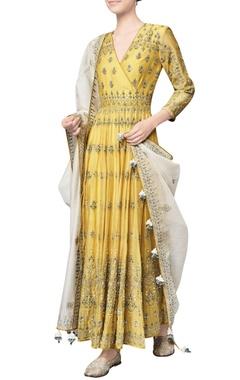 Yellow chanderi mull embroidered saranya anarkali with churidar & dupatta