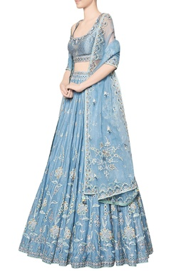 Blue nousha chanderi silk blouse with chanderi mullmull lehenga & organza dupatta