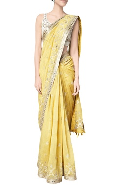 Yellow maheen chanderi mullmull sari with chanderi silk blouse