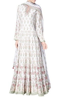 Natural freeda modal printed kurta with chanderi silk churidar & modal silk mullmull dupatta