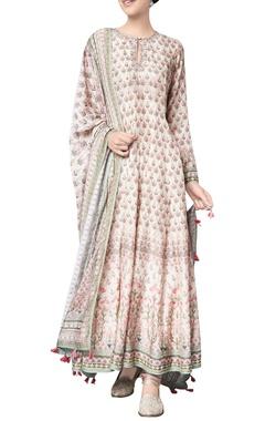 Pink nivika modal printed kurta with chanderi silk churidar & modal silk mullmull dupatta