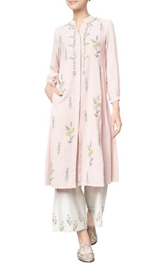 Blush pink cotton georgette embroidered aarya tunic
