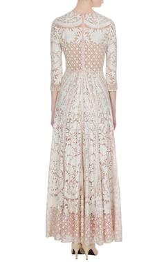 Ivory by peach net kashmiri embroidered kurta set