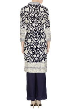 Navy blue net kashmiri embroidered kurta with matching spunsilk pants