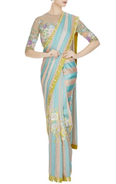 Manish Malhotra Aqua blue & peach satin chiffon sequin saree with beige net sequin blouse & peach petticoat