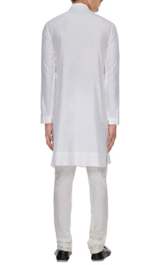 White spun silk kurta with lace yoke & churidar