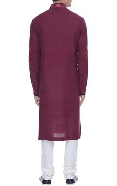 Maroon spun silk kurta with lace yoke & churidar