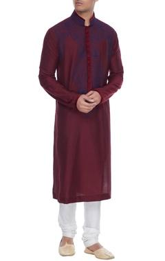Manish Malhotra - Men Maroon spun silk kurta with resham embroidered yoke & churidar