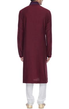 Maroon spun silk kurta with resham embroidered yoke & churidar