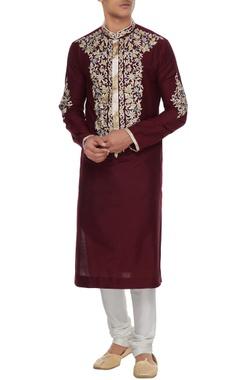 Manish Malhotra - Men Maroon spun silk resham embroidered kurta & churidar