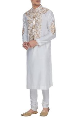 Manish Malhotra - Men Ivory spun silk jaal resham embroidered kurta & churidar