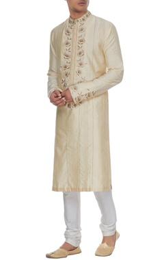 Manish Malhotra - Men Cream dupion silk gota embroidered kurta & churidar