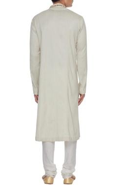 Cream dupion silk gota embroidered button down kurta & churidar