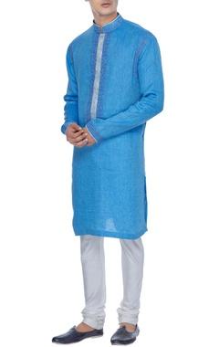 Manish Malhotra - Men Blue resham embroidered textured kurta set