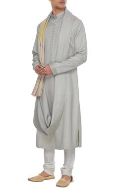 Manish Malhotra - Men Grey textured draped style kurta with yellow patchwork