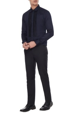 Manish Malhotra - Men Black resham jaal work shirt