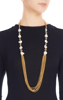 Gold & white alloy shell pearl with ball and gold chain necklace