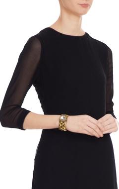 Gold & white alloy crochet bracelet