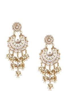 Shilpa Purii Gold & white alloy meena latkan chaandbali earring