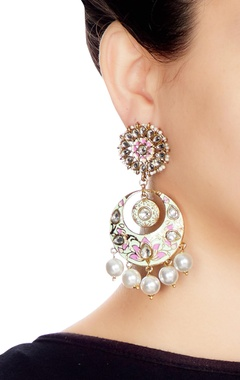 Multi-colored alloy meenakari chaandbali with pearl drops