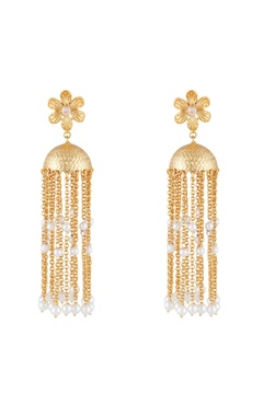 Shilpa Purii Gold & white alloy floral earring with tassels