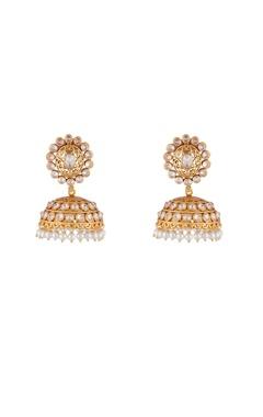 Shilpa Purii Gold & white alloy round uncut jali jhumka