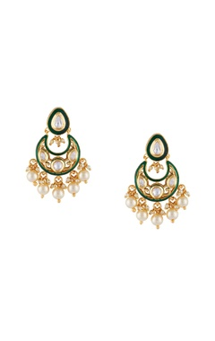 Shilpa Purii Green & white alloy meena small chaandbali earring