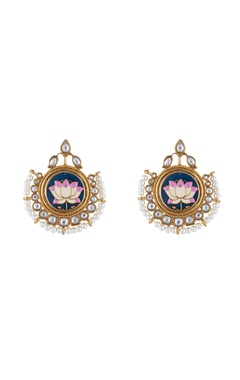 Multi-colored alloy meena lotus studed earring
