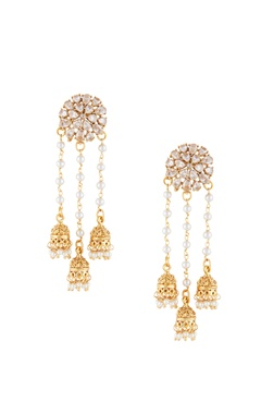 Shilpa Purii Gold & white alloy 3 jhumka uncut studed earring